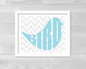 Baby Blue Bird with Grey Chevron Nursery Wall Print
