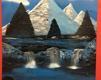 "Spray Paint Art ""River Mountains"""