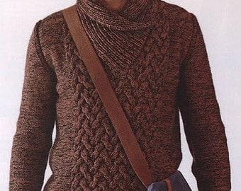 Men scarf collar knit sweater, 100% wool