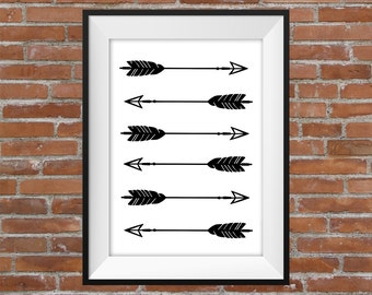 Graphic Black And White Arrows Repeating Print - Visual Graphic Digital Print - Home Decor - Gift Idea - Arrows Graphic - Wall Art
