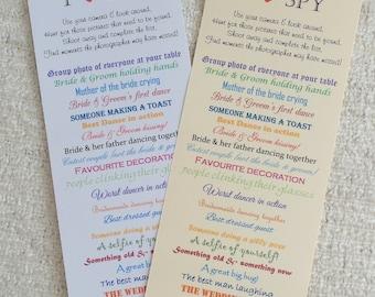10 Wedding I SPY Game Cards - Camera Fun - Wedding Favours
