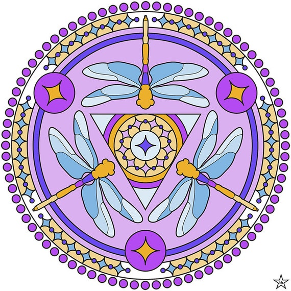 "Items similar to Mandala Coloring Page - ""Dragonfly Triad ..."