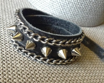Bracelet | Handmade | Black Leather Wrap with Silver Chain & Spikes