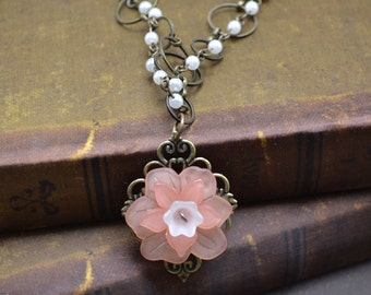 Vintage inspired necklace, Nickle-free necklace, Antique bronze chain necklace, multi-layered necklace, Flower pendant, Pearls, Peach/white
