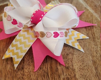Pink/ Gold/ White/ Chevron layered boutique bow on clip