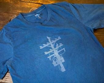 Indigo T-Shirt Indigo Discharge Logo T-Shirt Pigeon Tree Crafting Logo Tee Made In USA 100% Cotton Tee