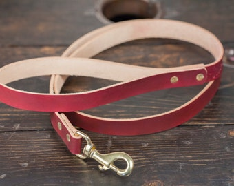 Leather Dog Leash OxBlood leather Dog Leash Pigeon Tree Crafting Dog Leash Red Leather Dog Leash Vegtan Leather Dog Leash Ox Blood Leash