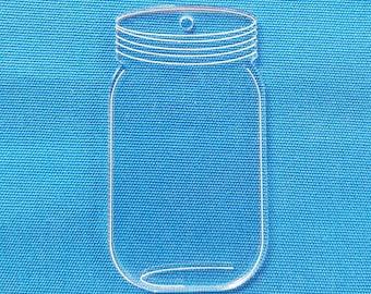 "25 Clear Mason Jar Acrylic Keychain Blanks 3"" Dim.  1/8"" Thick laser cut With Polished Edges (Optional Key Ring)"