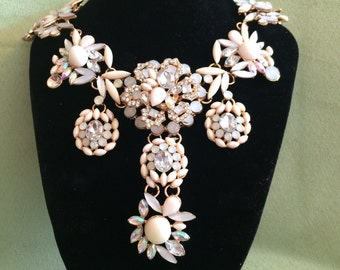 Chunky Jeweled Flower Statement Necklace