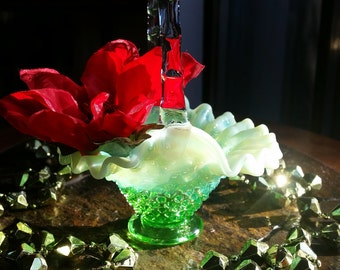 "Splendid Rare Vintage Fenton ""True Lime"" Opalescent Hobnail Mini Basket"