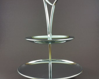 Mid Century Modern Tiered Serving Tray Chrome