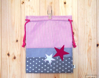 """snack bag Star - grey and Fuchsia / lunch bag """"star"""" - grey & Fuchsia"""