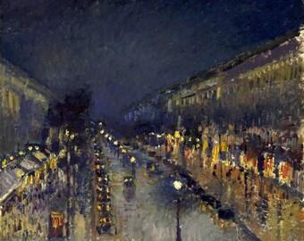 camille pissarro print, boulevard montmartre at night, impressionist print, paris streets print