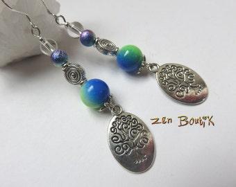 Earrings tree of life and two-tone glass beads, Tree of life, zen jewel, zen gift