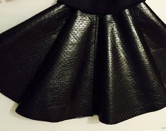 Black patent leather skirt