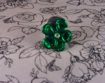 Handmade Green Polymer Flower Adjustable Ring
