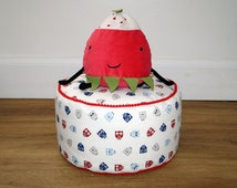 SALE !!! Owl pouf. Animal pouf, Ottoman, floor pillow. Navy, blue, red, cream. Pom pom finish.