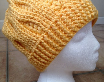 Sale! Sunshine Yellow Crochet Slouchy Hat. Ready to ship!