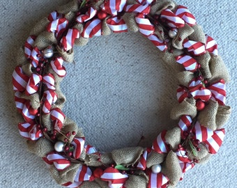 Candy Cane Stripe Christmas Wreath