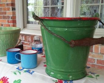Vintage Enamel Kitchen Pail Bucket Czechoslovakia Ware Ca 1950