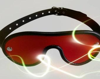 Leather blindfold red eyemask