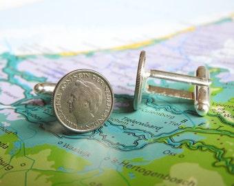 Netherlands Dutch dime coin cuff links with queen Wilhelmina, Juliana or Beatrix - cuff links from Holland