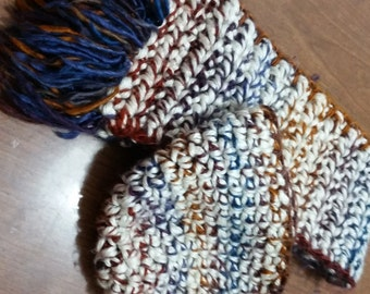 White with Multicolored Hat&Scarf