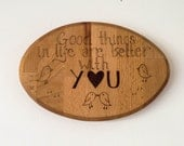 Pyrography love birds cute wall plaque. Solid wood sign, gift idea, gift for him, gift for her, engagement wedding and anniversary gift idea