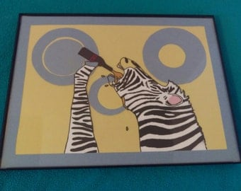 Zebra Beer- Outsider, Folk Art, 9x12'' Framed, Original