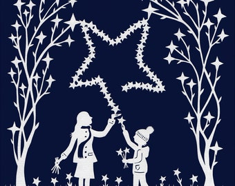 "Christmas greetingcard ""Star Pickers"""