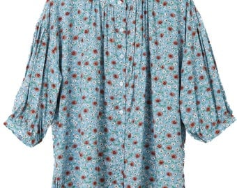 Women's Loose Fit Pleat Front Peasant Blouse With Flower Print