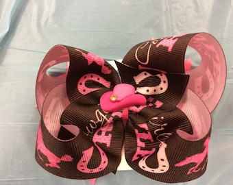 Pink Cowgirl Hair Bow