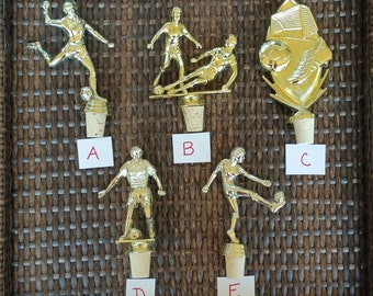 Soccer Trophy wine stopper - 5 to choose from. *CONTACT me for other sports not shown!