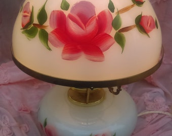 Antique Lamp/ Gone with the Wind Lamp /Hurricane electric lamp/Electric lamp/Hand painted/ Pink roses