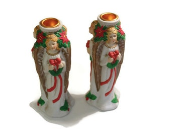 1980's vintage angel candle holder set/ Christmas decor/3 Angels Candle holder/