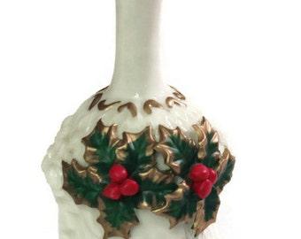 Vintage Christma's Bell Ceramic white bell mistletoe