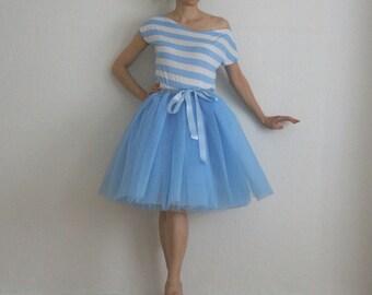Tulle skirt blue petticoat skirt length 55 cm