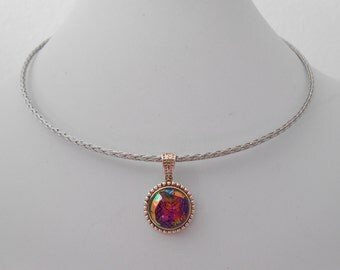 iridescent glass choker necklace