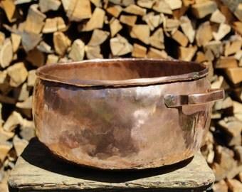 Handmade Copper Container, Vase Container, Storage Bin