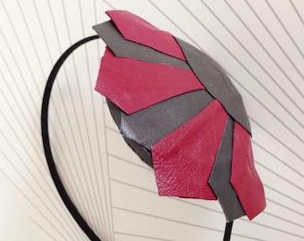 Handmade leather headpiece modern geometric Art Deco Style