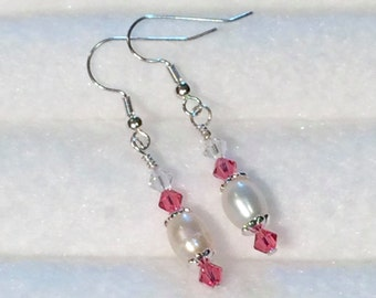 Swarovski Crystal and Freshwater Pearl dangle Earrings