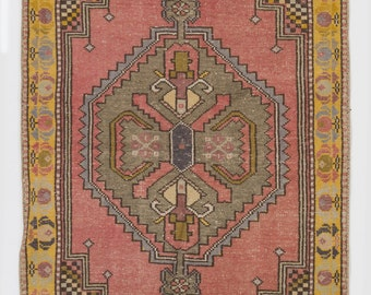 3.8x6.3 Ft Vintage Hand-knotted Anatolian village Rug. Soft, Comfy wool pile.  Old authentic handmade Turkish Carpet. G105