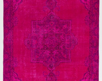 6x10.3 Ft Fuchsia Pink color OverDyed Vintage Turkish Rug. Ideal for both residential and commercial interiors. Wool & Cotton. Y516