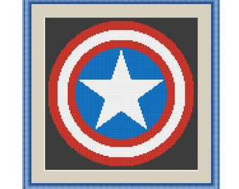 Cross stitch pattern Captain American Shield,Instant download PDF