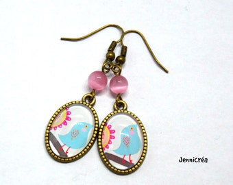 Image bird blue glass cabochon earrings