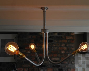 Up-cycled rustic/industrial galvanised steel/brass chandelier