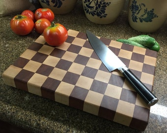 End Grain Cutting Board, Mahogany and Maple