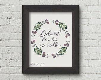 I John 4:7/8x10 calligraphy print/Scripture print/inspirational/Printable/valentine/art wall decor/Quote poster/Instant download/love