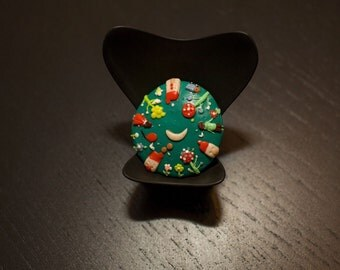 Beautiful, handmade, brooch made out of polymer clay