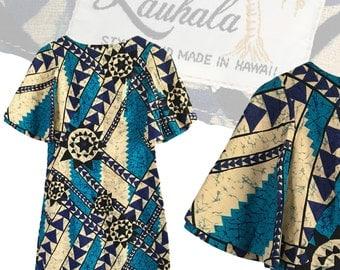 Vintage Tropical Hawaiian Barkcloth Dress